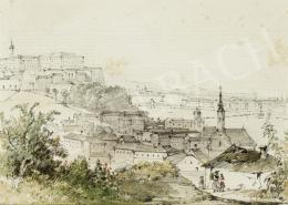 Ismeretlen 19. századi osztrák vagy magyar művész C. Czerny jelzéssel - Kilátás a Gellért-hegyről a Vár és a Lánchíd irányába, 1850 körül