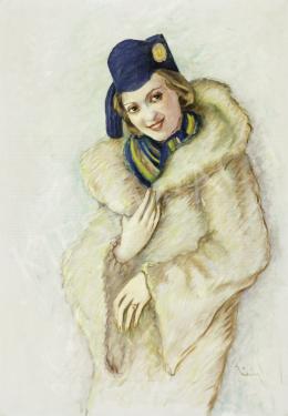 Ismeretlen magyar művész Temesváry jelzéssel - Kiss Manyi színésznő portréja, 1940 körül