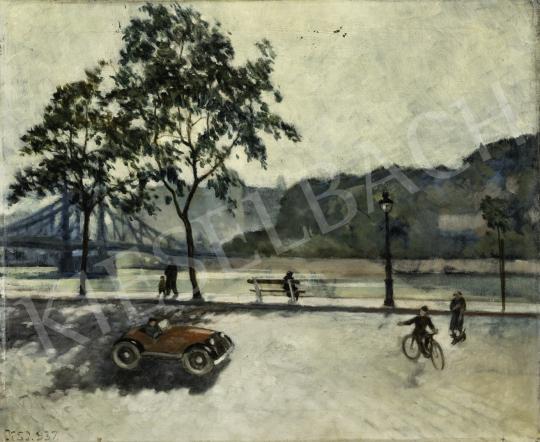 Ismeretlen magyar festő olvashatatlan jelzéssel - Budapesti részlet automobillal háttérben a Gellért Szállóval és a Ferenc József híddal, 1937 festménye