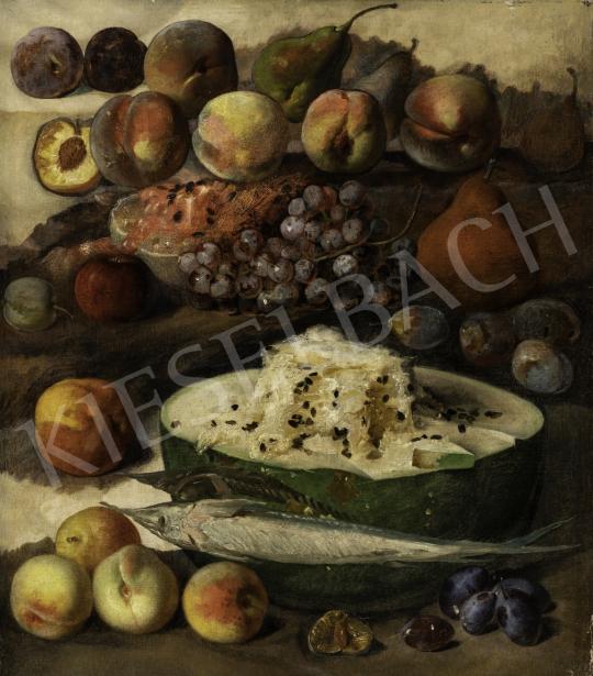 Ismeretlen közép-európai (magyar?) festő 1860 - Csendélet gyümölcsökkel festménye