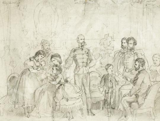 Osztrák-magyar művész 1869 körül - Ferenc József, gróf Andrássy Gyula, Erzsébet királyné, Rudolf trónörökös, Gizella főhercegnő és Mári festménye