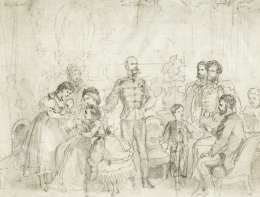 Austrian-Hungarian Painter c.1869 - Franz Joseph, Countg Gyula Andrássy, Queen Elisabeth with the Family