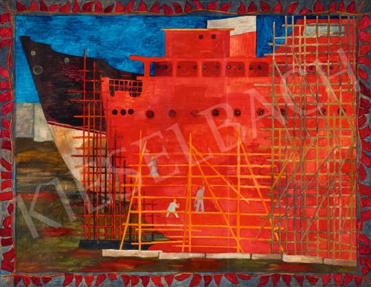 Pintér Éva - Hajóépítők, 1960-as évek festménye