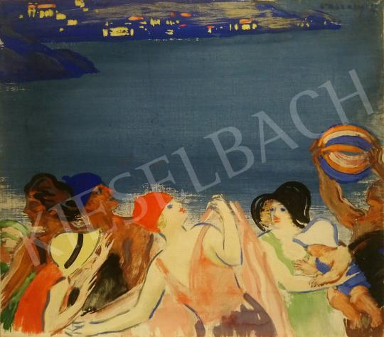 Vaszary János - Labdázók a tengerparton (Riviéra), 1930-as évek festménye