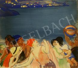 Vaszary János - Labdázók a tengerparton (Riviéra), 1930-as évek