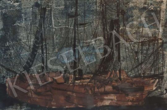 Eladó  Eigel István - Kikötő 1962 festménye