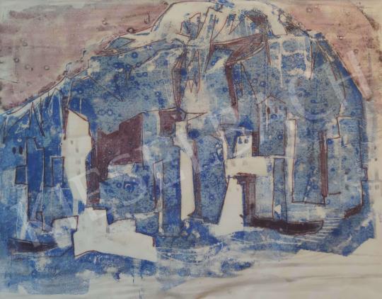 Eladó Ismeretlen festő - Kék városrészlet 1965 festménye