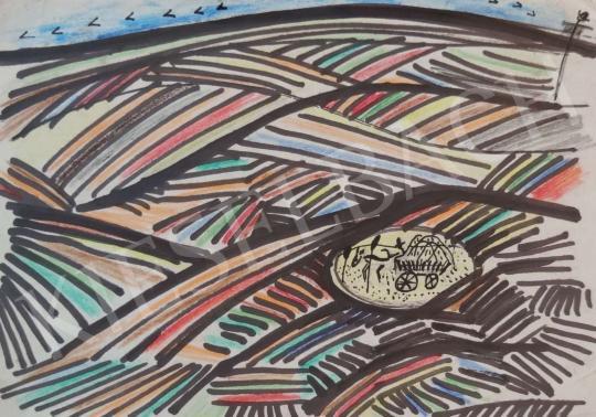 Eladó  Mersits Piroska - Szénásszekér  festménye