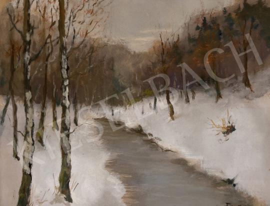 Eladó  G Farkas Géza  - Téli patakpart  festménye