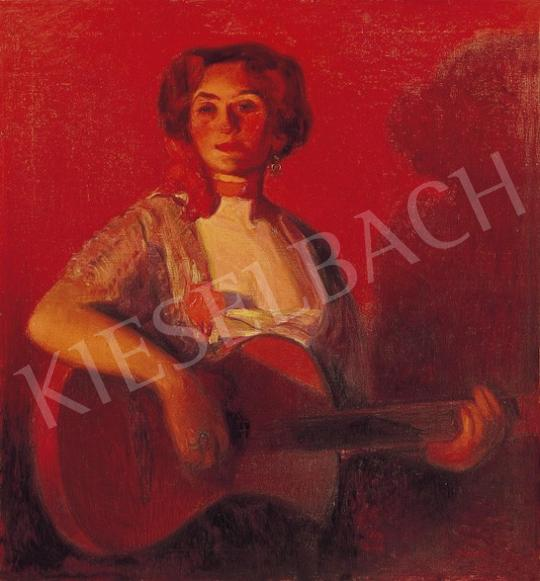 Herrer Cézár - Spanyol hölgy gitárral | 5. Aukció aukció / 28 tétel