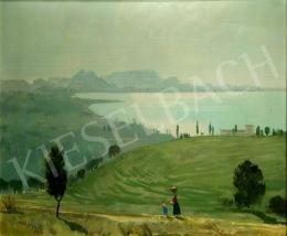 Molnár C. Pál - Balatoni táj háttérben Badacsonnyal