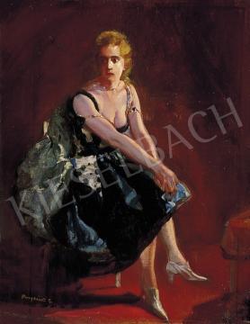 Burghardt Rezső - Zöldruhás hölgy | 5. Aukció aukció / 31 tétel