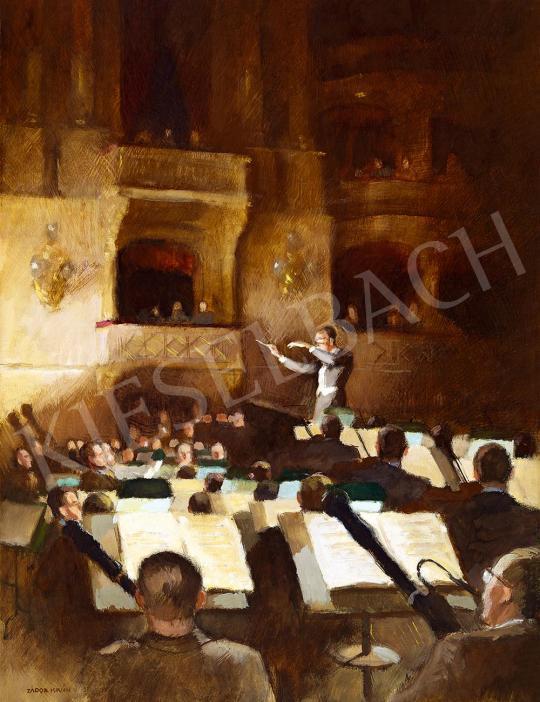 Eladó  Zádor István - Esti fények az Operában (Hans Knappertsbusch vezényel), 1937 festménye