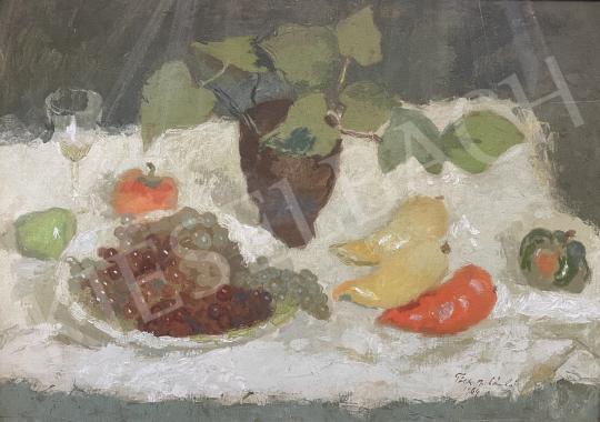 Eladó Tóth B. László - Csendélet szőlővel, almával és paprikával, 1964 festménye