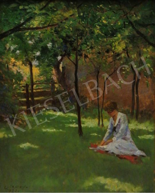 Eladó Györgyfy György - Délutáni pihenő a zöldellő kertben, 1926 festménye