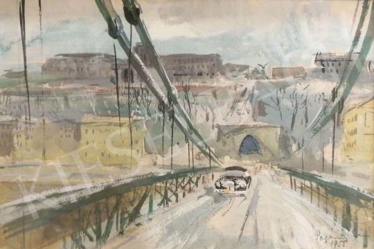 Eladó Pogány Géza - Automobil a Lánchídon (Budapest), 1955 festménye