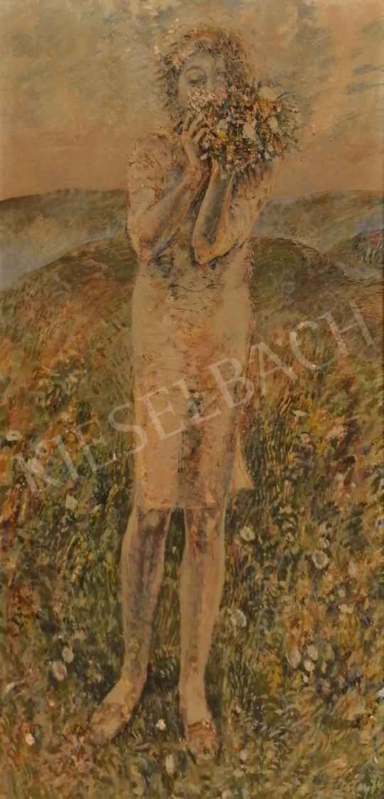 For sale  Patay, László - Girl with Spring Flowers, 1974 's painting