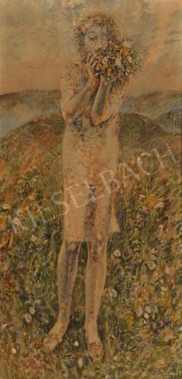 Patay László - Lány tavaszi virágcsokorral, 1974