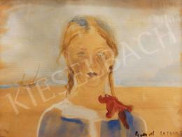 Góth Móricz - Kislány a tengerparton (La Panne), 1911