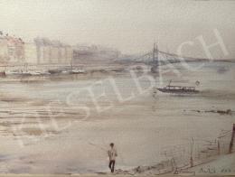 Diósy Antal - Budapesti részlet (Dunapart, Horgász, Szabadság híd), 1962