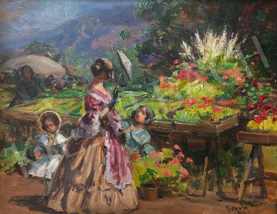 Eladó Gergely Imre - Virágpiac napernyős hölggyel festménye