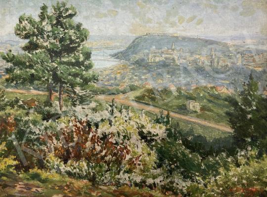 Eladó  dr. Szemerey J - Budapesti látkép 1937 festménye