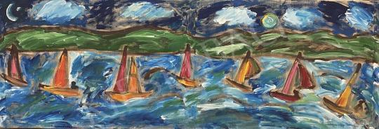 Eladó  Németh Miklós - Vitorlások a Balatonon (Éjjel-nappal Balaton) festménye
