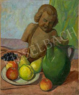 Ismeretlen festő - Asztali csendélet gyümölccsel és szoborral