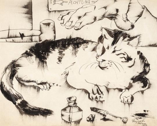 Hajnal János - Achtung! (Macska), 1933 | 66. Aukció aukció / 2 tétel