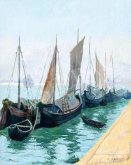 Csejtei Joachim Ferenc - Velencei kikötő (Vitorlások), 1920-as évek