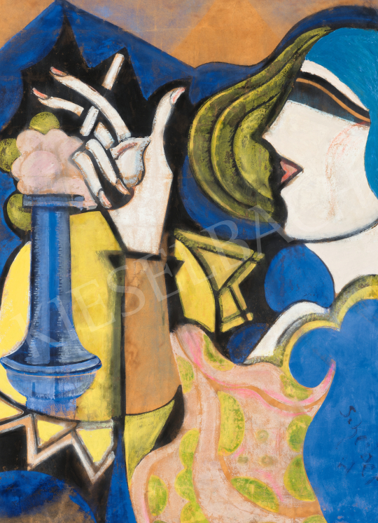 Scheiber Hugó - Bárhölgy cigarettával, 1930 körül   66. Aukció aukció / 13 tétel