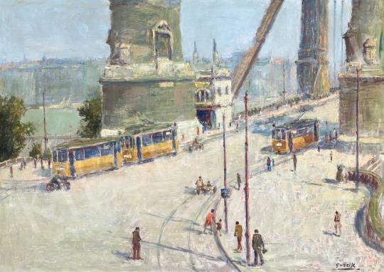 Guzsik Ödön - Villamosok az egykori Erzsébet-hídon, 1935 körül | 66. Aukció aukció / 14 tétel