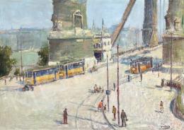 Guzsik Ödön - Villamosok az egykori Erzsébet-hídon, 1935 körül