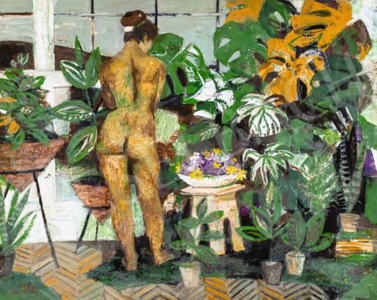 Scholz Erik - Akt műteremben páfrányok között, 1960-as évek   66. Aukció aukció / 19 tétel