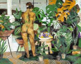 Scholz Erik - Akt műteremben páfrányok között, 1960-as évek