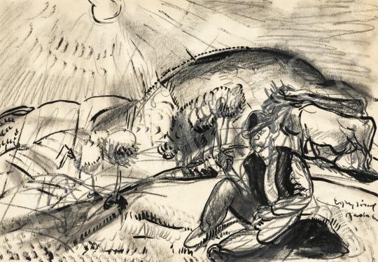 Egry József - Badacsonyi táj pásztorral, 1932 körül | 66. Aukció aukció / 26 tétel