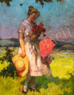 Jámbor Lajos - Lány virágcsokorral