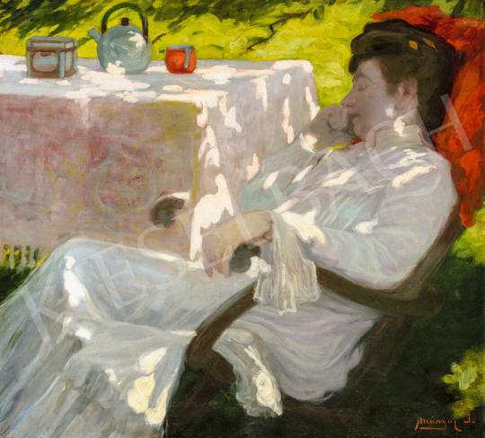 Mányai József - Délutáni szieszta a fák alatt a kertben, 1910 körül   66. Aukció aukció / 30 tétel