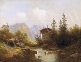 Ismeretlen osztrák festő, 1860-70 körül - Alpesi táj hegyi patakkal