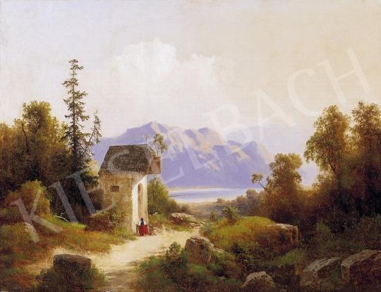 Ismeretlen osztrák festő, 1860-70 körül - Osztrák táj tóval | 5. Aukció aukció / 40b tétel