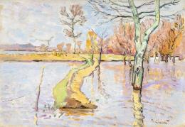 Mihalik Dániel - Tavaszi áradás (Szolnok), 1908 körül