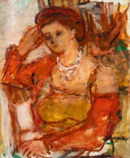 Czóbel Béla - Párizsi modell karosszékben