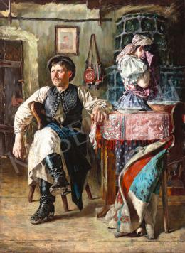 Ismeretlen magyar festő 1890 körül - Falusi jelenet