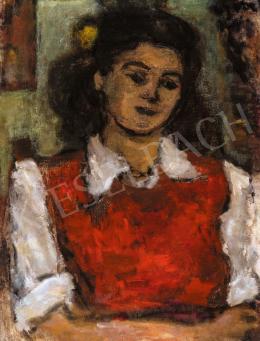 Czóbel Béla - Párizsi diáklány piros mellényben, 1945