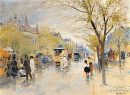 Berkes Antal - Őszi utca, konflis, omnibusz, 1915