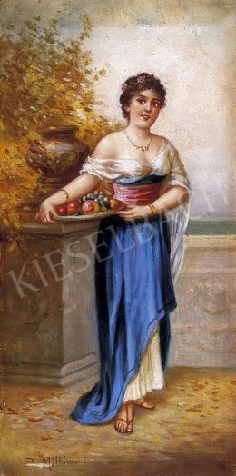 B. Müllner jelzéssel, 1900 körül - Hölgy gyümölcstállal