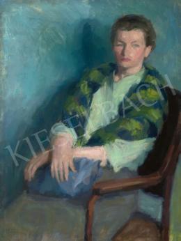 Berény, Róbert - Lady with Green Striped Scarf