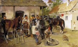 Kubányi, Lajos, - In the Yard of the Blacksmith