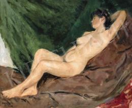 Ferenczy, Valér - Woman Nude in front of the Green Drapery
