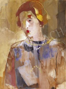 Bene, Géza - Woman with a Pearl Necklace